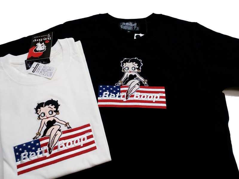 お買い得品 2色 ブラック or 舗 ホワイト Betty boop Tシャツ 2019ベティ ベティ BE-13 メンズ半袖Tシャツ 半t 星条旗 刺繍 メンズ