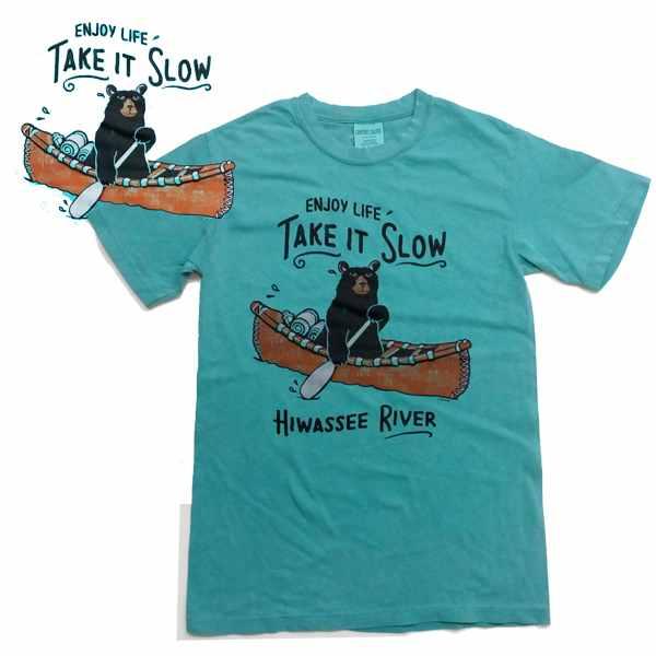 祝開店大放出セール開催中 アメリカ インポートT カヌー tシャツ High Wind 半袖Tシャツ 熊 Production KC003be アウトドアくまTシャツ 受注生産品