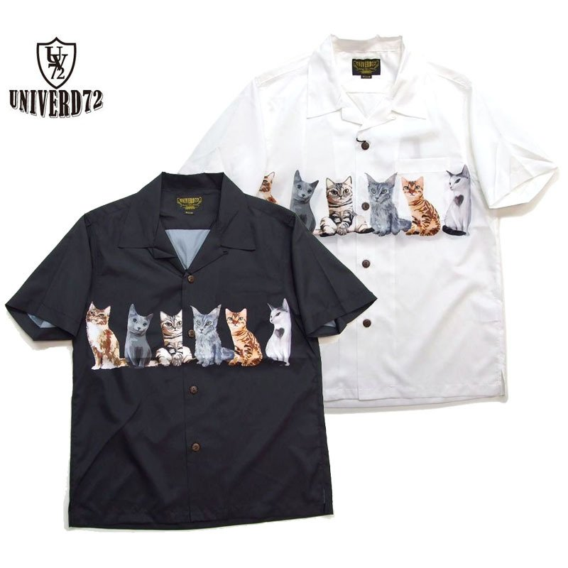 ご機嫌な猫アロハです UNIVERD72 公式ストア アロハシャツ 猫柄シャツ 返品不可 ユニバード 40836 アロハ メンズ半袖シャツ