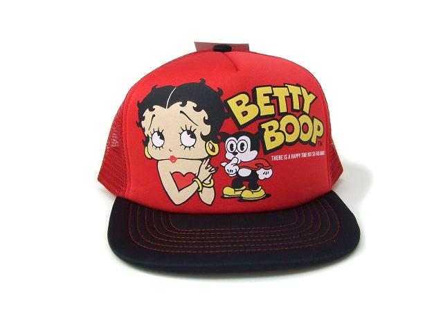 男女兼用フリーサイズ BETTY 日本正規代理店品 BOOP-ベティ レッド×ブラック 定番から日本未入荷 メッシュキャップ BM-MC04