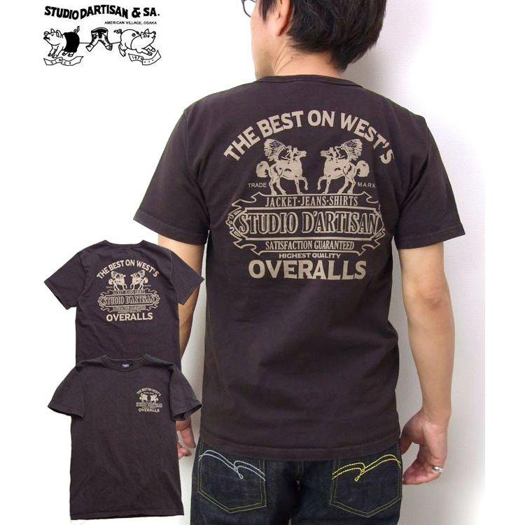 厚手の高級感あるTシャツです ダルチザン 吊り編みTシャツ 2021 日本製 開催中 tシャツ OVERALL メンズ プリント半袖Tシャツ D'ARTISAN 8028B アメカジTシャツ サービス STUDIO