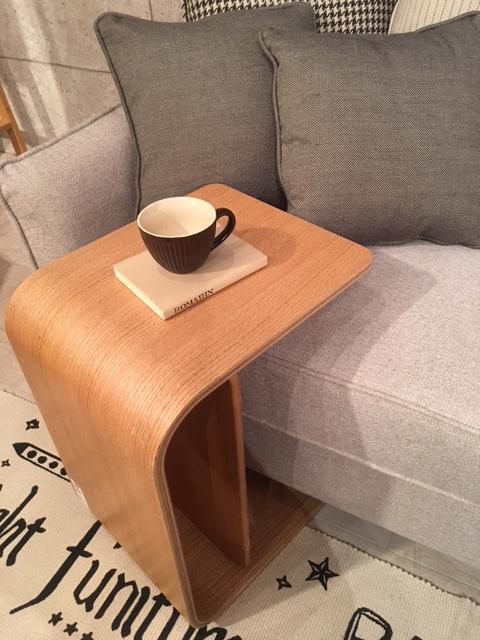 代引き不可 【 サイドテーブル 】ソファ ◆ 木製 ナチュラル 曲げ木 ウッドテーブル お洒落 ナチュラル 色