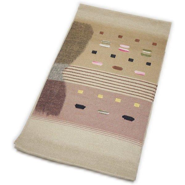 なごや帯 正絹 仕立て上がり 八寸 名古屋帯 紬すくい織 手織袋名古屋帯(生成り系)
