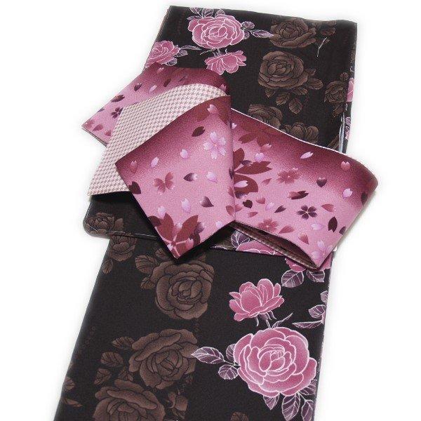 着物2点セット 洗えるプレタ小紋と半幅帯 薔薇柄 ブラウン系 袷 LサイズN8n0wPOkX