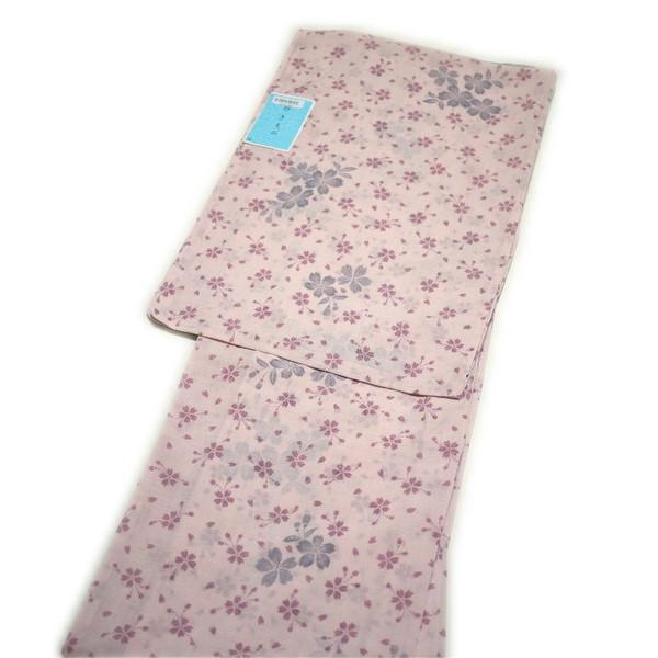 夏用 着物 洗える仕立て上がり小紋(紗:桜色:M)日本製生地