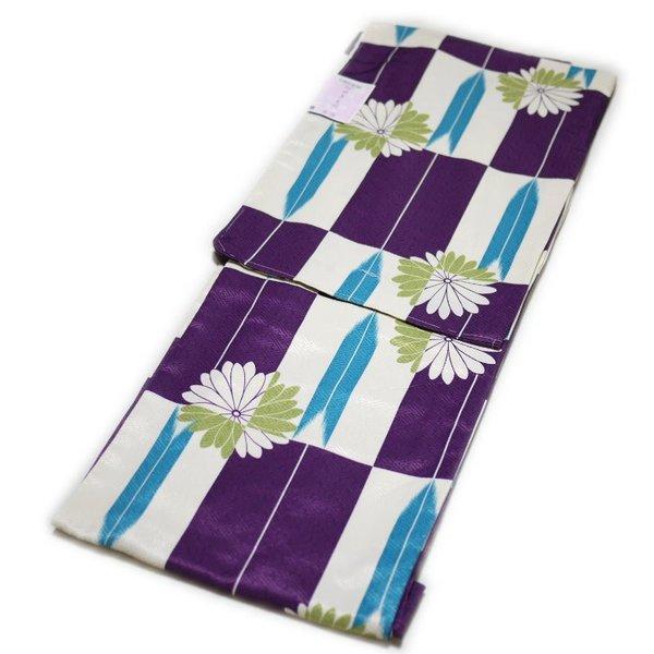 着物 洗える仕立て上がり小紋(袷:紫色:矢絣と菊柄:M寸)日本製生地