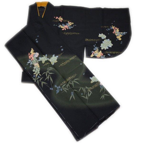 訪問着絵羽柄 高級二部式着物(ブラック系:花柄:L寸)日本製
