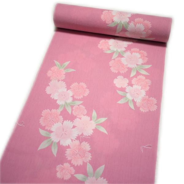 浴衣 レディース 反物 ちぢみ 大正浪漫 麻混(綿麻:ピンク地に花柄) 日本製