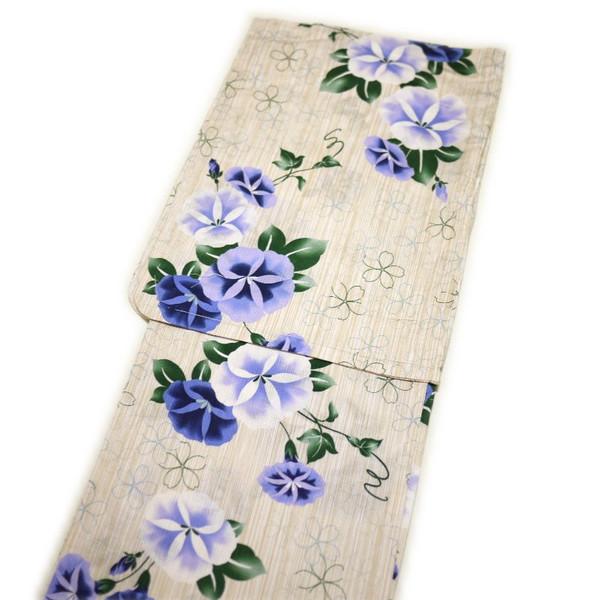浴衣 レディース レトロ 高級綿麻 麻混 (生成りにブルー系 朝顔柄)