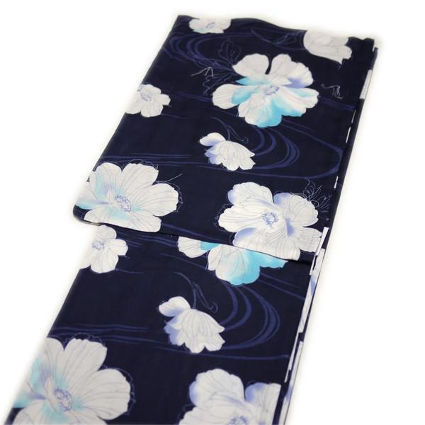 浴衣 レディース レトロ 高級変り織(黒地に白い花柄)