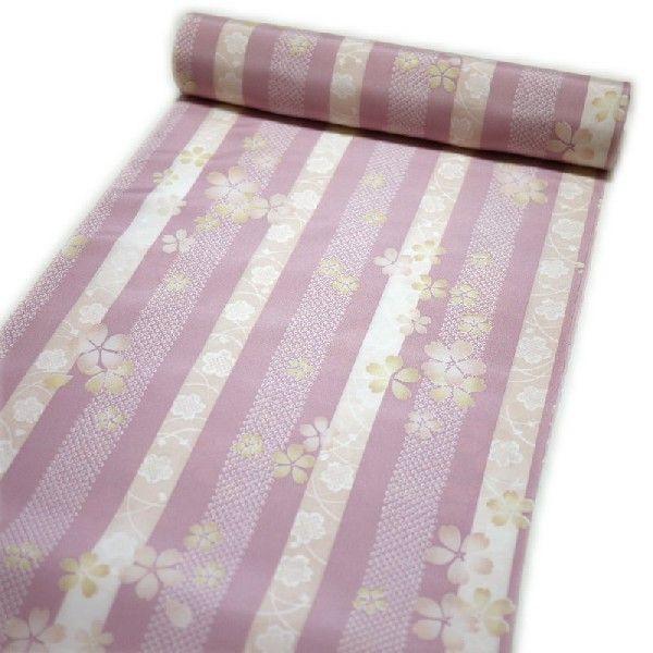 長襦袢 反物 お洒落(正絹:ピンク地の縞に花柄) 着物 レディース 女性 和装 和服