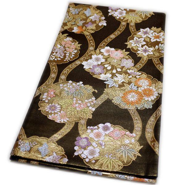 京都西陣織 仕立て上がり袋帯(華の雪輪:黒)礼装:フォーマル日本製