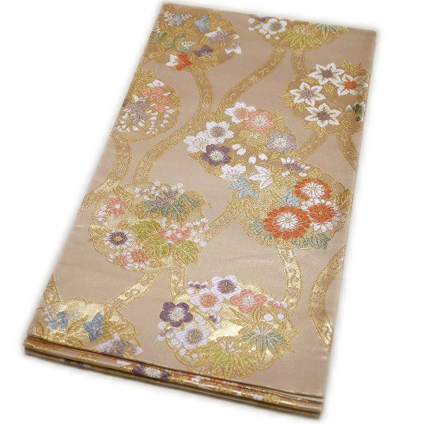 京都西陣織 仕立て上がり袋帯(華の雪輪:ベージュ)礼装:フォーマル日本製
