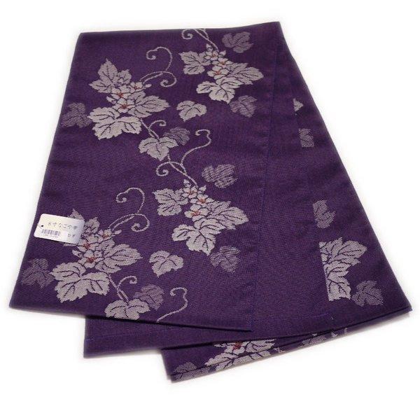 セール SALE セール SALE なごや帯 八寸 名古屋帯 紬織風 仕立て上がり(紫色:花柄)日本製