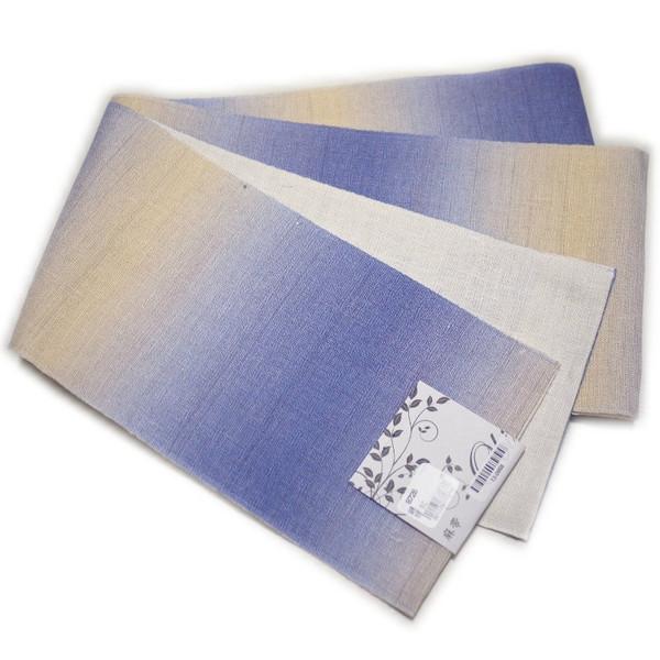 半幅帯 浴衣帯 夏用 本麻帯(ブルー系ぼかし柄)日本製