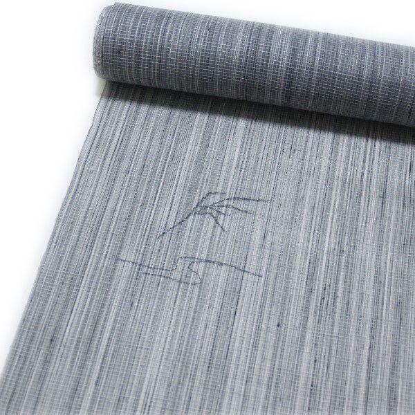 夏用 正絹紬の小紋着尺・反物(グレー系)