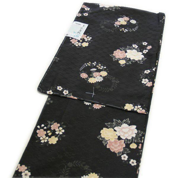 セール SALE 着物 洗える仕立て上がり高級小紋(単衣:黒地/花柄/Mサイズ)
