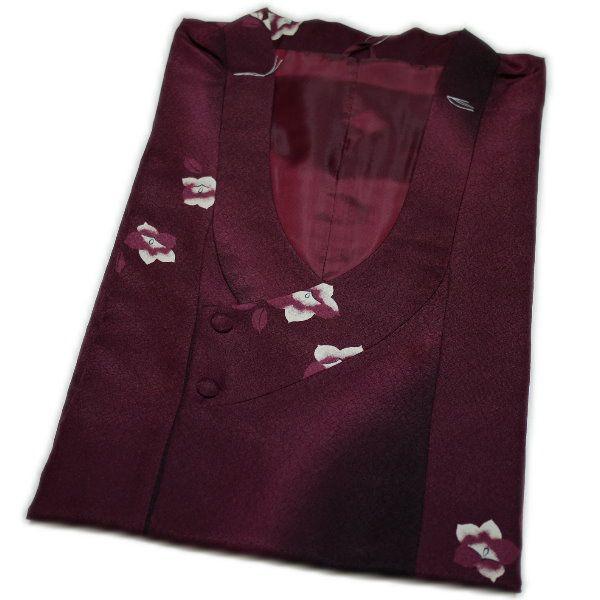 千代田衿の高級ロングコート(エンジ色に花柄) 日本製