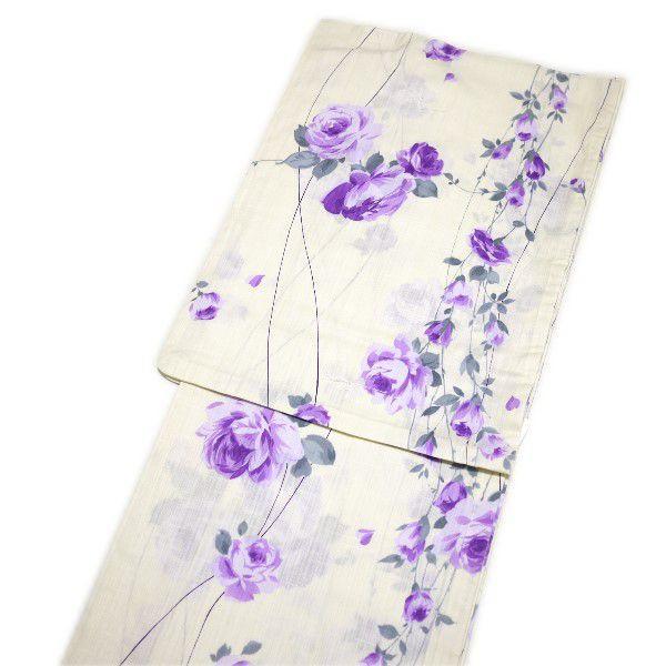 浴衣 ゆかた Private Label変り織(オフホワイトに紫の薔薇柄)