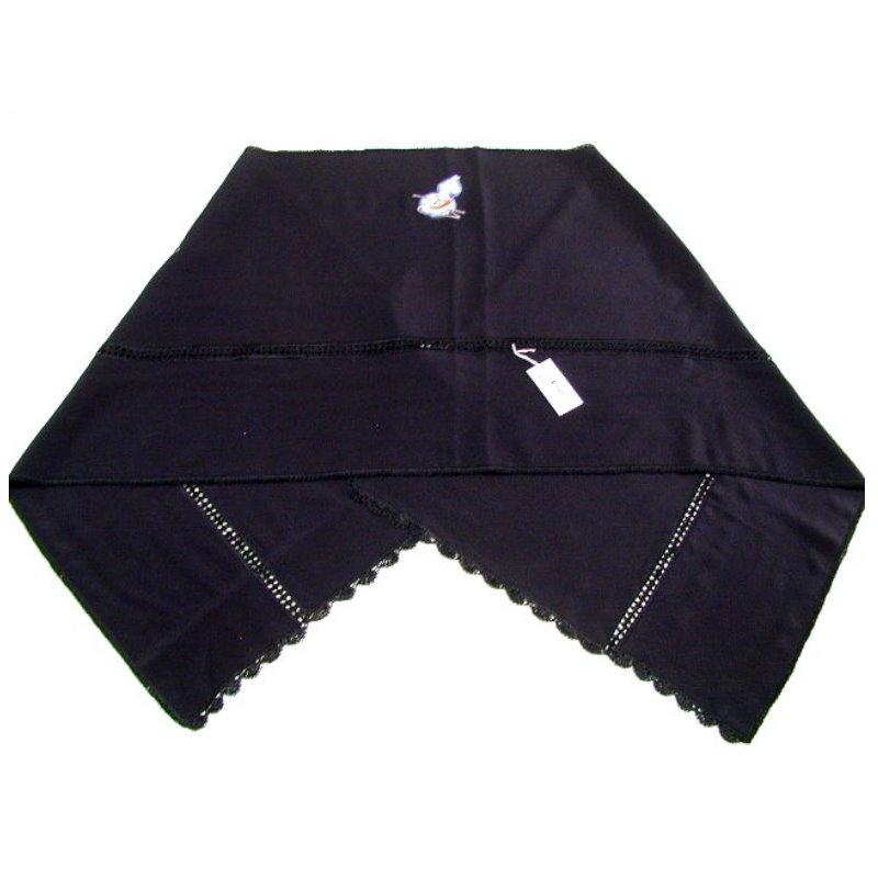 和装 ショール 正絹 絹 三つ紋 刺繍入りショール 黒地 瓢箪 絞りに独楽柄 コマ 和風 和装 洋装兼用