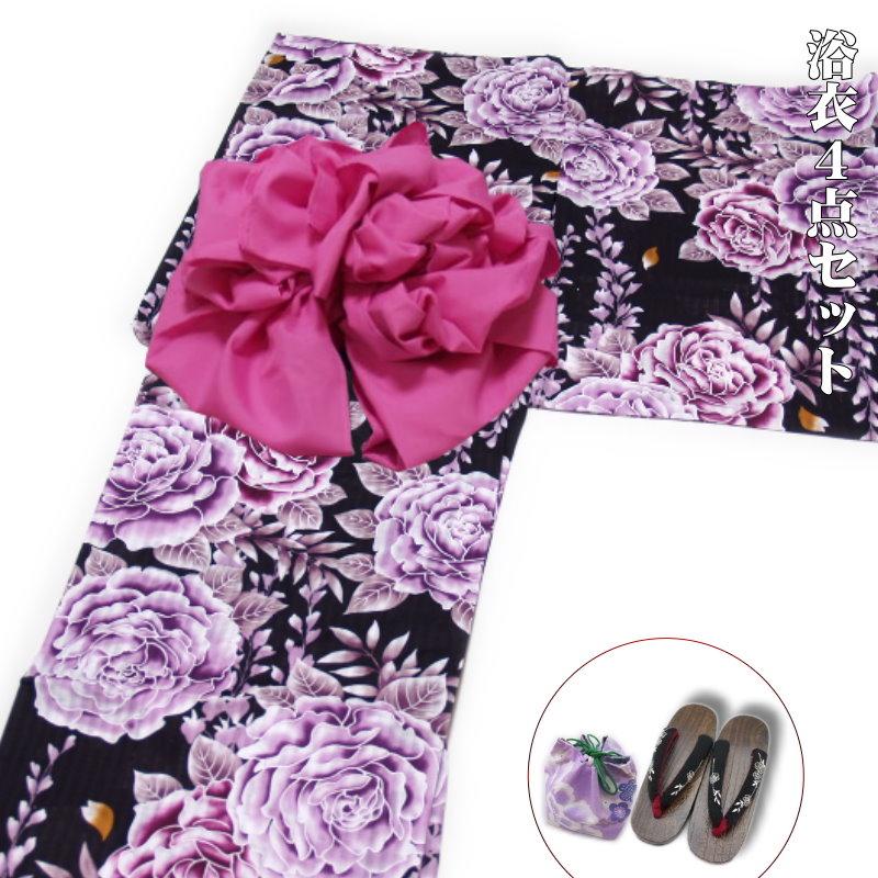浴衣4点セット レトロモダン 高級変り織浴衣(薔薇柄)