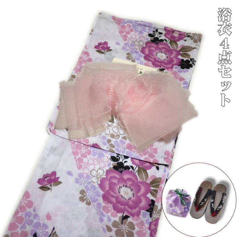 浴衣4点セット 高級綿麻浴衣(麻混 ピンク系)