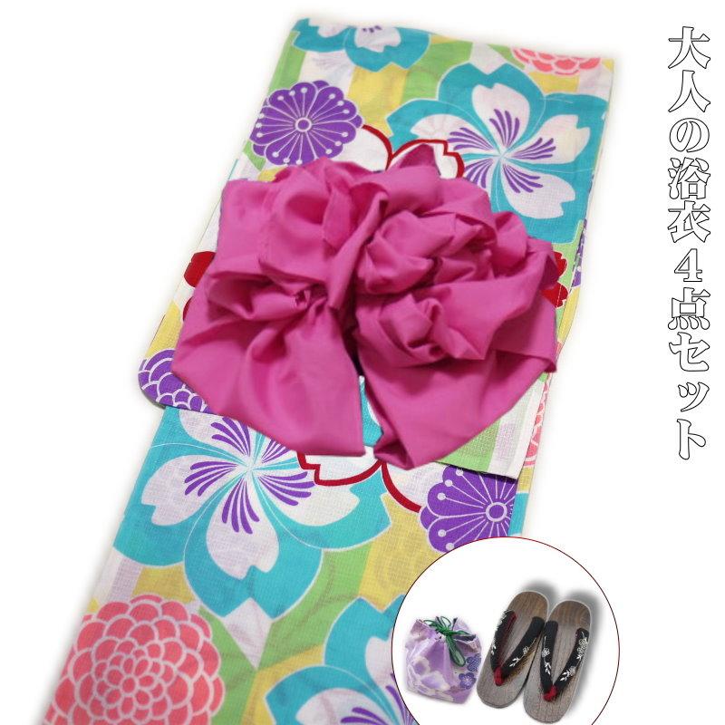浴衣 レディース 4点セット レトロ 大正浪漫 高級綿紅梅織(古典柄)