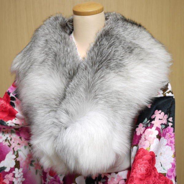 成人式 振袖 ショール 日本製 大判サイズ SAGA FOX ファー(シャドー ブルー フロスト フォックス 毛皮) 和洋兼用箱入り