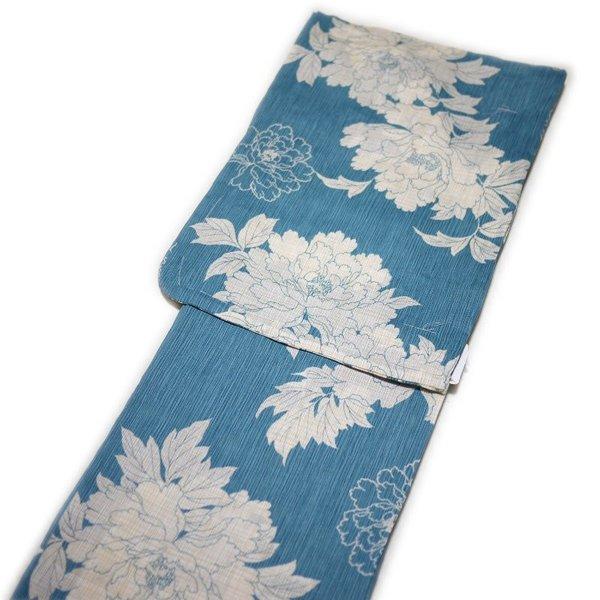 浴衣 レディース レトロ 粋 高級 綿麻 麻混(ブルーに牡丹柄)