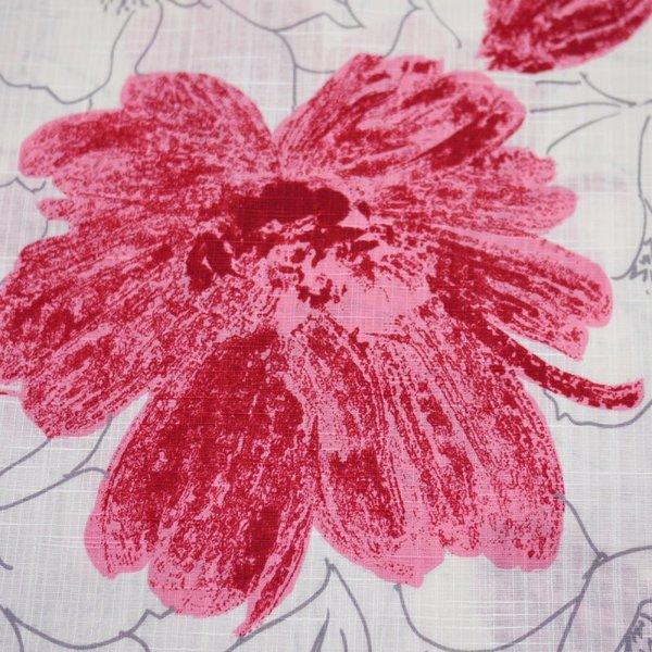浴衣 レディース 4点 セット レトロ 大人 上品 高級生地 アイボリー地に赤の花柄 浴衣 帯 下駄 巾着QrhtdCs