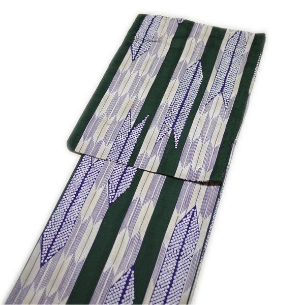 浴衣 レディース レトロ 粋 高級 変り織(グリーン 矢絣柄)