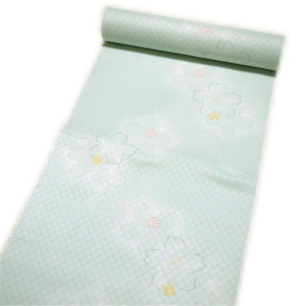 セール SALE 洗える 長襦袢 反物 ポリエステル(グリーン系 桜柄)