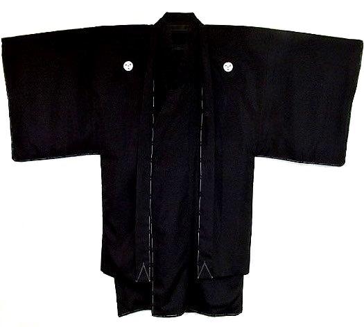 アンサンブル5サイズ S M L LL 3L 洗える 袷 黒紋付 ニューライト 化繊 手数料無料 5サイズ 羽二重調 購入 袴用着物と羽織セット