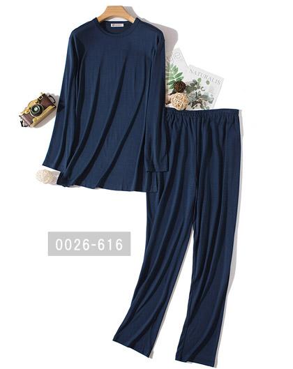 婦人用丸首ニットシルクパジャマ(無地)ブルー系