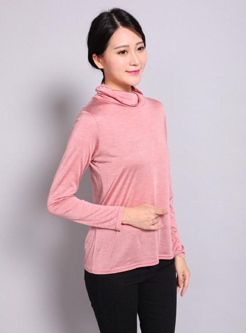 シルク100% ハイネック シルクシャツ 婦人服肌 迅速な対応で商品をお届け致します 絹 レディース カットソー 長袖 シルクカットソー 杢色 シルクアウター シャツ 売買 シルク