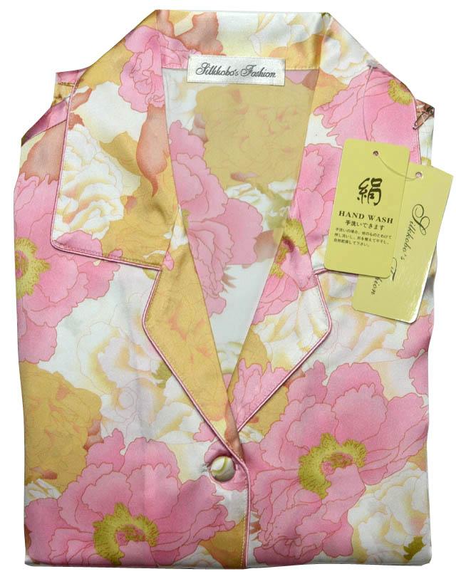 送料無料 レディース シルクパジャマボタン柄 シルク パジャマ 母の日