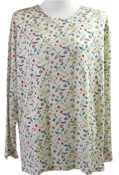 丸首シルクニットパジャマ(上下セット)小花柄 母の日