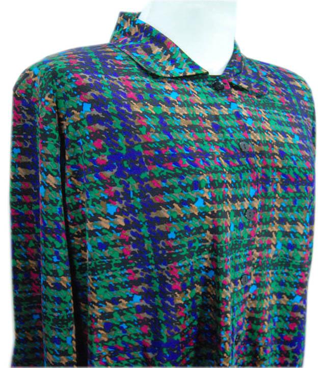 モザイク柄の衿付き前開きシルク ニットパジャマ母の日