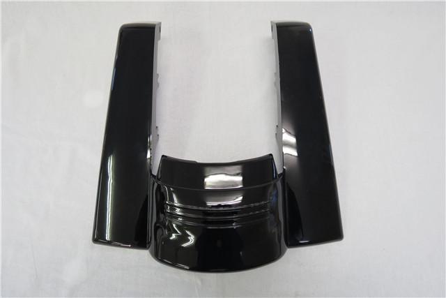 harley ツーリング No Cut Out フェンダーエクステンション LED テール付き 2009-2017 Street Road Glide 黒