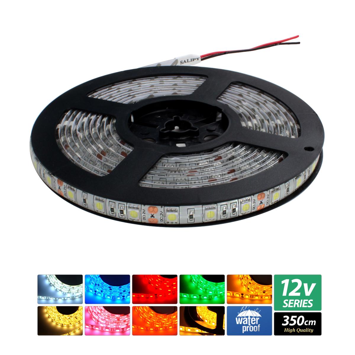 【ハイクオリティ】防水 LEDテープライト 3チップ 12V 単体 350cm