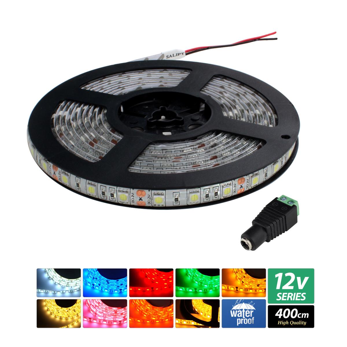 【ハイクオリティ】防水 LEDインテリアテープライト 3チップ 単体 (100V/12V兼用) 400cm