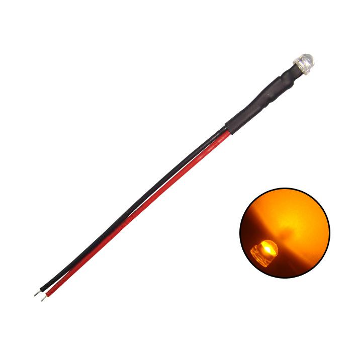 Kaito4121(1000個) LED 4.8mm 帽子型 オレンジ色 12V車用抵抗付き