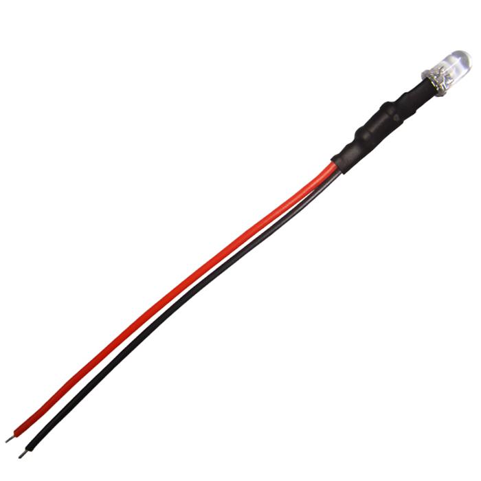 Kaito4501(1000個) LED 5mm 砲弾型 白色 24V車用抵抗付き