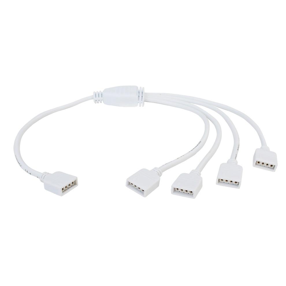 Kaito5634(50個) 平型4ピンタイプ RGBテープライト 4分岐ケーブル 30cm (メス・メス)