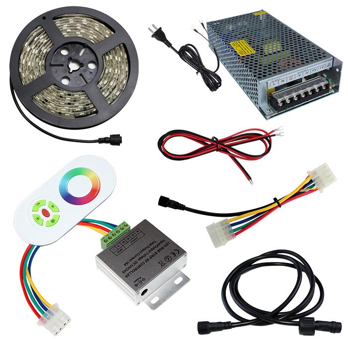 【スマコン500cm×1本セット】 防水RGBテープライト(RoHS対応) +RF調光器+対応アダプター付き
