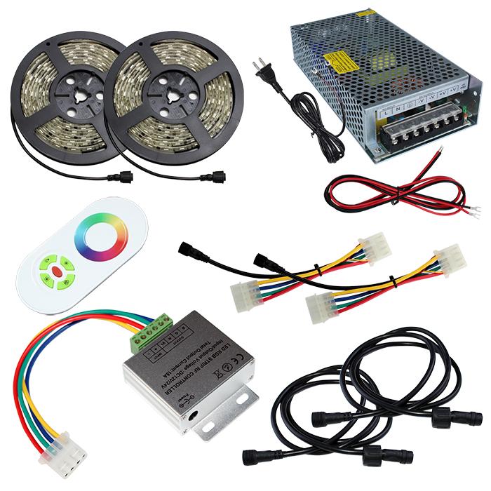 【スマコン500cm×2本セット】 防水RGBテープライト(RoHS対応) +RF調光器+対応アダプター付き