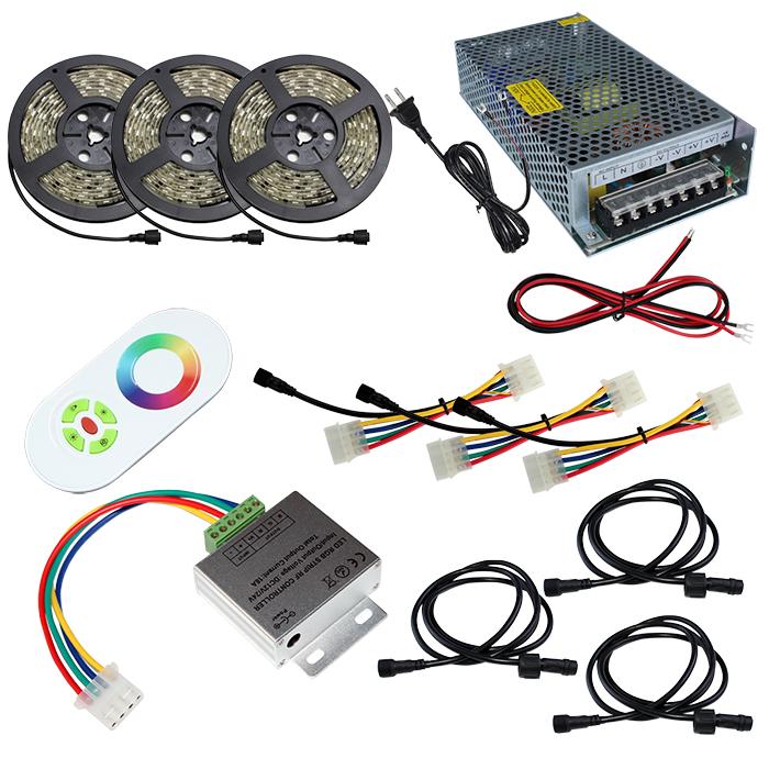 【スマコン200cm×3本セット】 防水RGBテープライト(RoHS対応) +RF調光器+対応アダプター付き