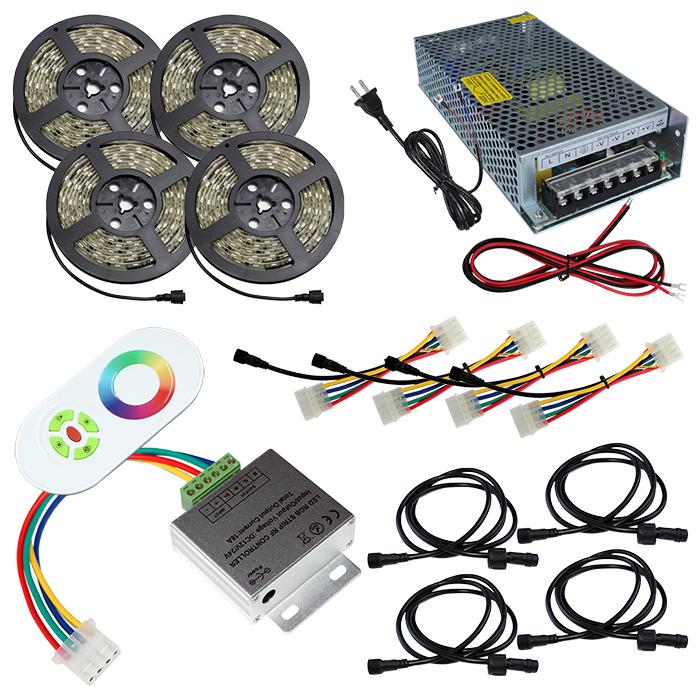 【スマコン50cm×4本セット】 防水RGBテープライト(RoHS対応) +RF調光器+対応アダプター付き
