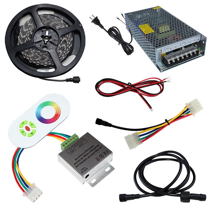 【スマコン350cm×1本セット】 非防水RGBテープライト+RF調光器+対応アダプター付き