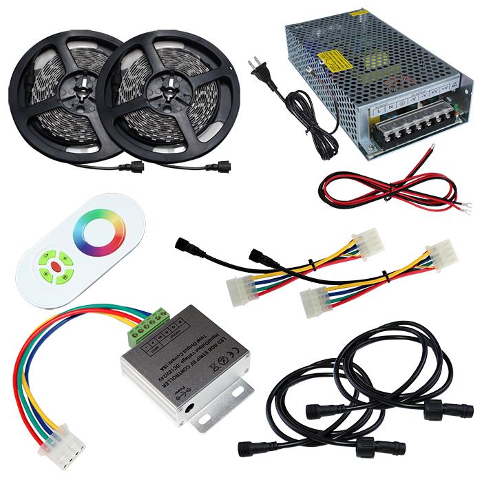 【スマコン150cm×2本セット】 非防水RGBテープライト+RF調光器+対応アダプター付き
